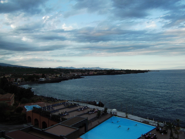 View of the saltwater infinity pool at the Santa Tecia Palace hotel, Acireale, Sicily, Italy.