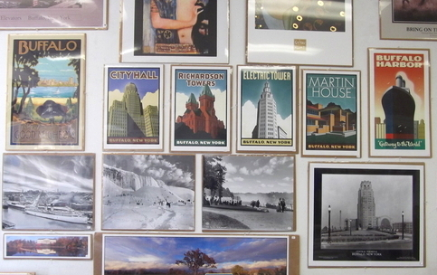 Buffalo landmarks at Poster Art in Elmwood Village.
