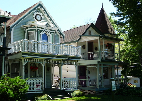 Victorian cottages feature quaint woodwork.