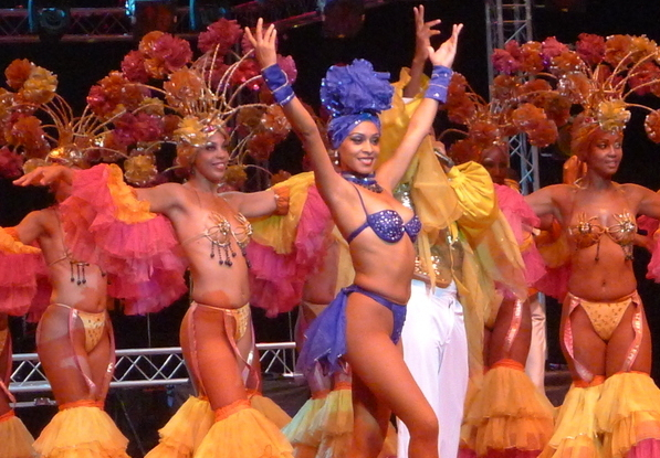 Goddesses of dance and celebration at the Tropicana nightclub in Santiago de Cuba.