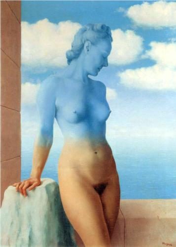 La magie noire, or Black Magic (1945), oil on canvas, 73 x 54 cm. Private collection.  All of Magritte's paintings are/were originally titled in French.