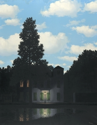 The Empire of Light (1954), Rene Magritte. Collection: Magritte Museum, Brussels. Magritte juxtaposed a daytime sky over a night scene in a series of paintings.