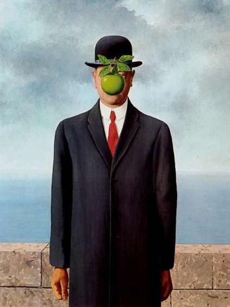 The Son of Man (1964) by Magritte was a self portrait. Private collection.